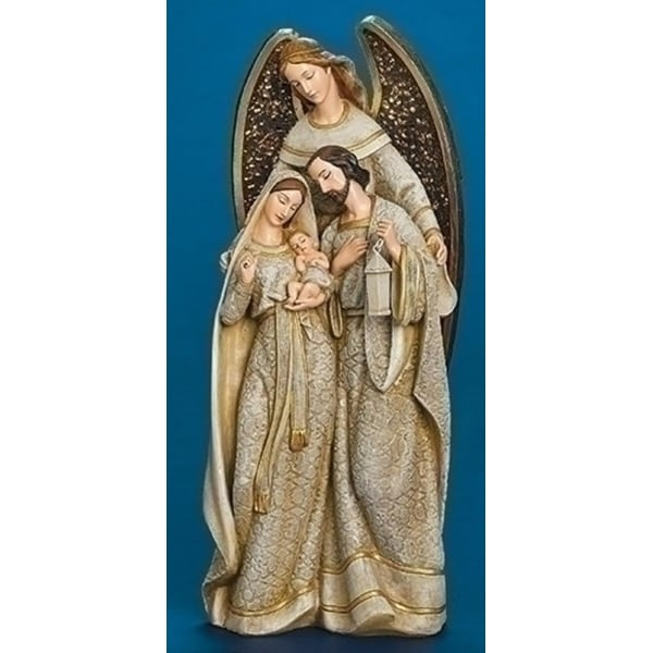 "12.25"" Beige Angel Embracing Holy Family with Mosaic Wings Christmas Figure"
