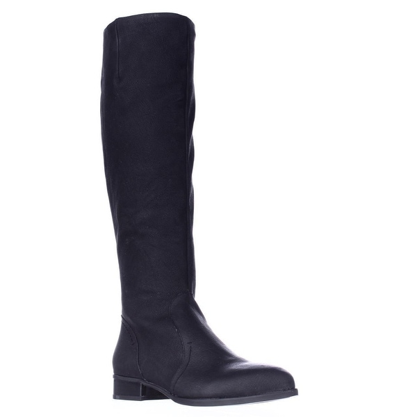 Nine West Nicolah Wide Calf Riding Boots, Black Leather