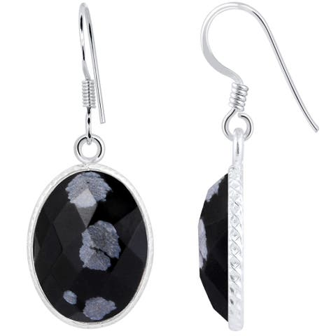 Snowflake Obsidian Sterling Silver Oval Dangle Earrings by Orchid Jewelry