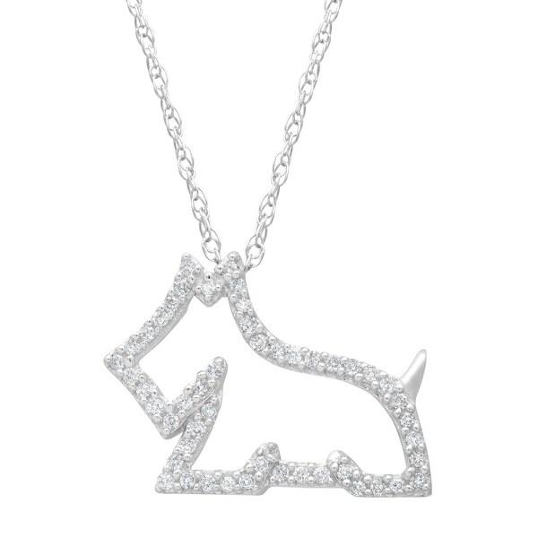 1/8 ct Diamond Scottie Dog Pendant in 14K White Gold