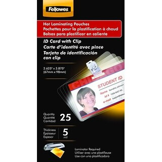 Fellowes, Inc. - Laminating Pouches Id Card Punched W/Clp