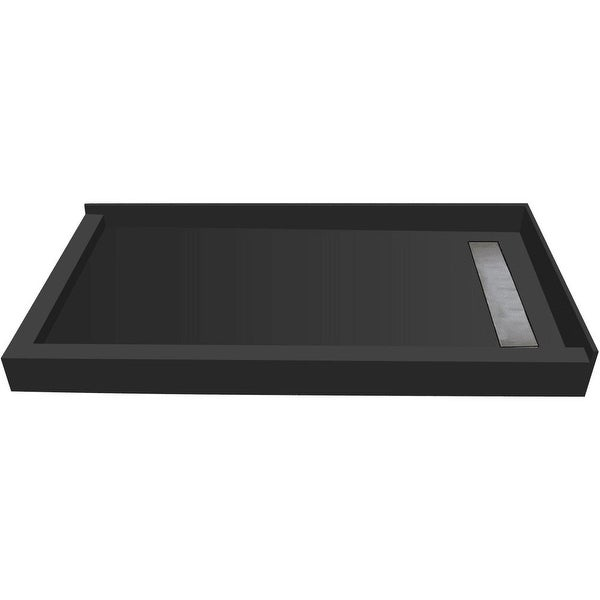 """Tile Redi RT3048RDL-PVC Redi Trench 48"""" X 30"""" Corner Shower Pan with Double Threshold and 2"""" Right-Side Drain - Tileable Drain"""