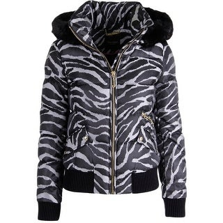 Juicy Couture Black Label Womens Abstract Jacquard Puffer Jacket