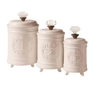 Mud Pie Kitchen Canisters - White Ceramic Lidded Jars - Set of 3|https://ak1.ostkcdn.com/images/products/is/images/direct/6a14fc1664b8e57efbe8c1afda2b983281b1a23d/Mud-Pie-Kitchen-Canisters---White-Ceramic-Lidded-Jars---Set-of-3.jpg?impolicy=medium