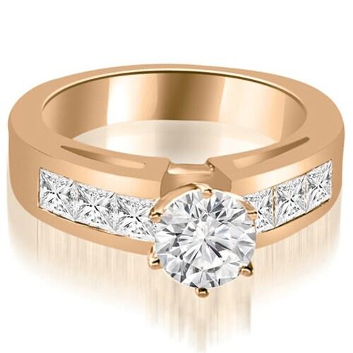 1.50 cttw. 14K Rose Gold Channel Set Princess Cut Diamond Engagement Ring