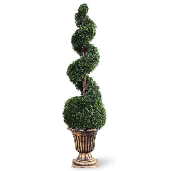 4.5' Spiral Cedar Artificial Tree - Unlit - Green - N/A
