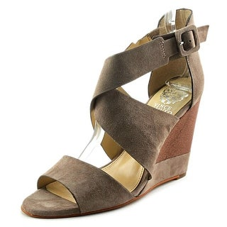 Vince Camuto Milena Women  Open Toe Suede Gray Wedge Sandal