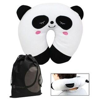 JAVOedge Children's Neck Pillow (3 Yrs +), Bonus Reusable Storage Bag - panda