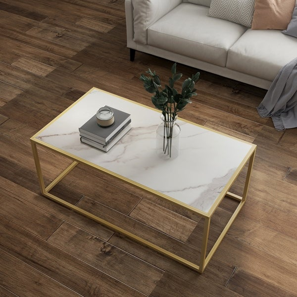 White Marble Rectangular Coffee Table with gold Metal Leg for Living Room. Opens flyout.