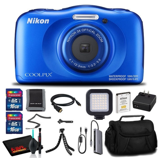 Nikon COOLPIX W100 Digital Camera(Blue) - Case, 16GB SD, Tripod, Case, and More. Opens flyout.