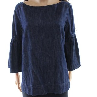 Lauren by Ralph Lauren NEW Blue Women Medium M Denim Bell Sleeve Blouse