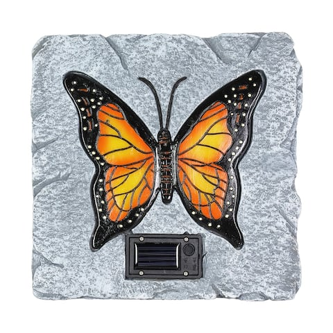 Exhart Solar Monarch Butterfly Stepping Stone, 10 Inch