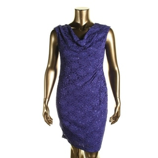 Connected Apparel Womens Petites Lace Embellished Cocktail Dress