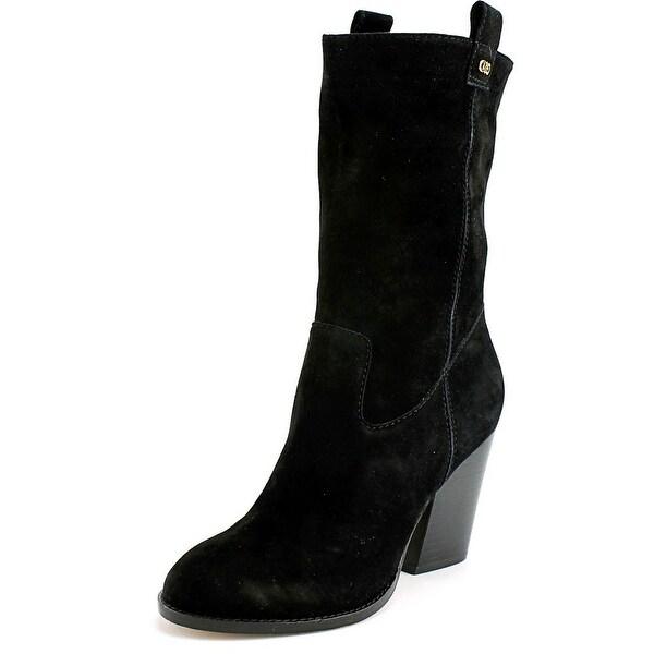 Cole Haan Nightingale Boot Women Round Toe Suede Black Mid Calf Boot