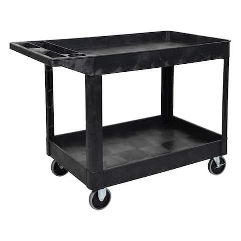 """Offex Mobile Office Garage 2 Shelf Heavy Duty Utility Cart - Black - 24.5""""W x 45.5""""L x 33""""H"""