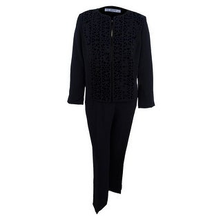 Tahari ASL Women's Plus Size Laser-Cut Pantsuit - Black