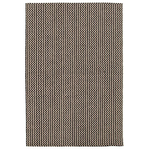 ECARPETGALLERY Braid weave Sienna Black, Khaki Wool Rug - 5'1 x 7'5
