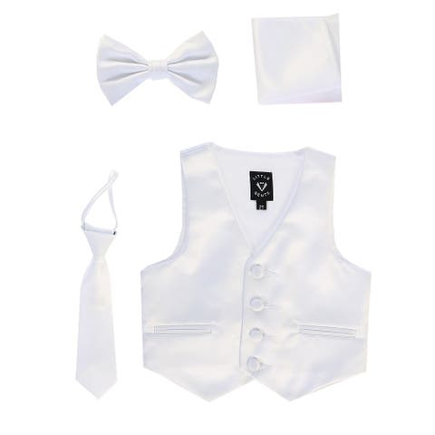 Lito Baby Boys White Satin Vest Zipper Tie Hanky Bowtie Clothing Set 18-24M - 18-24 Months