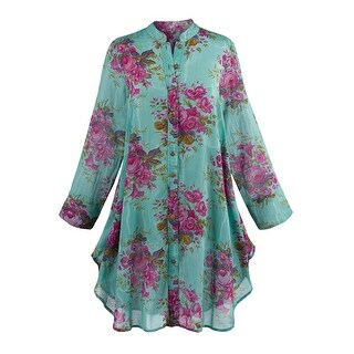 Women's Roses Tunic Top - Button Front Blouse with 3/4 Sleeves