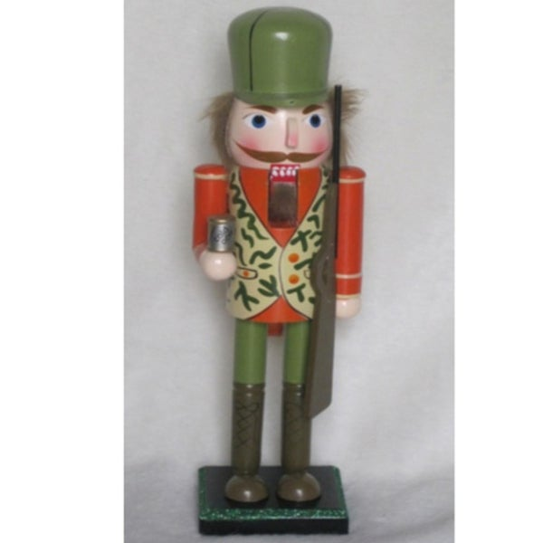 "14"" Camoflauge Hunter with ""Cold One"" Nutcracker Christmas Table Top Decoration - multi"