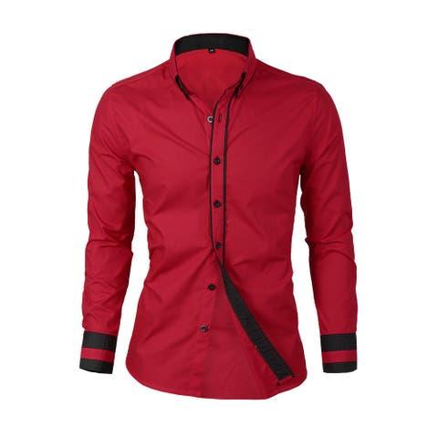 Men Contrast Trim Slim Fit Long Sleeve Dress Formal Shirt