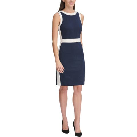 Tommy Hilfiger Womens Wear to Work Dress Paisley Knit - Navy/White