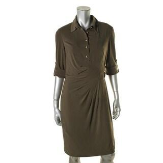 Tahari ASL Womens Shirtdress Buckle Collar - 10