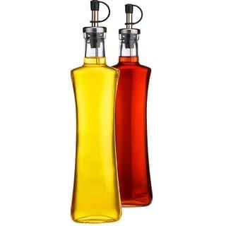 Palais Glassware Oil & Vinegar 12 Oz Clear Glass Dispenser Cruet Bottle, with Silver and Black Spout - Set of 2