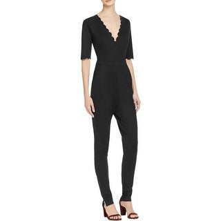 French Connection Womens Jumpsuit Scalloped Trim Surplice neck - xs