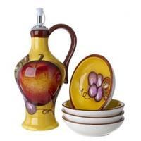 Cucina Italiana Ceramic Olive Oil Dispenser Bottle Cruet with Set of 4 Dipping Plates  Honey Yellow