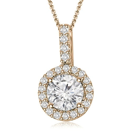 0.90 cttw. 14K Rose Gold Halo Round Diamond Pendant
