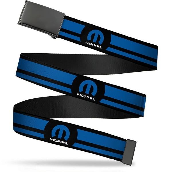 Blank Black Buckle Mopar Logo Stripe Black Blue Webbing Web Belt
