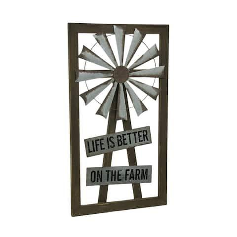 Rustic Farm Life Decorative Windmill Wall Plaque - 32 X 17.75 X 0.75 inches