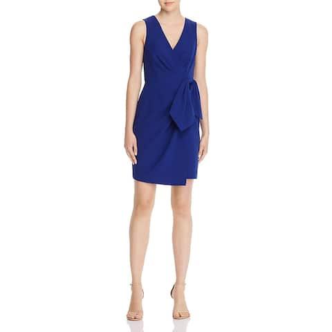 Eliza J Womens Cocktail Dress Faux Wrap Sleeveless - Cobalt