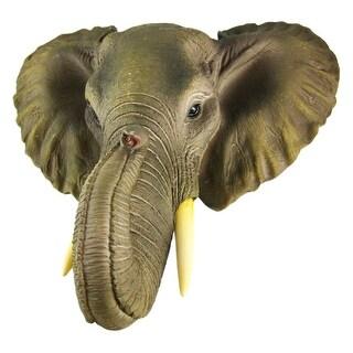 African Elephant Head Mount Wall Statue Mini Bust 9 In.