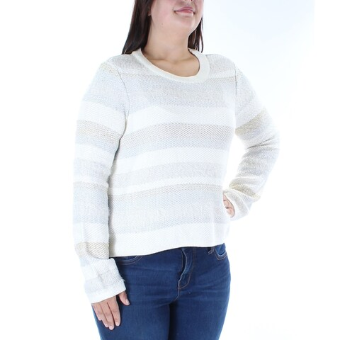 KIIND OF Womens Ivory Striped Long Sleeve Jewel Neck Sweater Size: XL