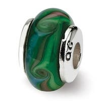 Sterling Silver Reflections Kids Green Hand-blown Glass Bead (4mm Diameter Hole)