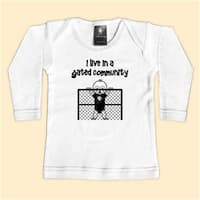 - I Live In A Gated Community - Black Long Sleeve T-Shirt - 0-6