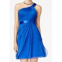 Adrianna Papell Blue Womens Size 18 One Shoulder Sheath Dress