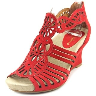 Earthies Caradonna Women Open Toe Leather Red Wedge Sandal