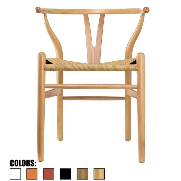 2xhome Wood Wishbone Modern Style Armchair - Dining Room Chair with Natural Papercord Woven Seat
