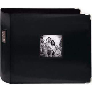 Sewn Leatherette 3-Ring Binder 12 X12 -Black