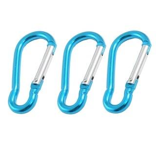 """3 Pcs Hiking Blue Aluminum Alloy Carabiners Buckle Hooks 2.6"""" Long Okrui"""