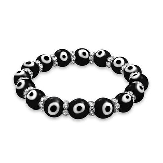 Evil Eye Beads 10mm Black Stretch Crystal Bracelet 7.5in