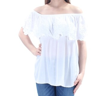 Womens White Short Sleeve Casual Peasant Top Size XXL