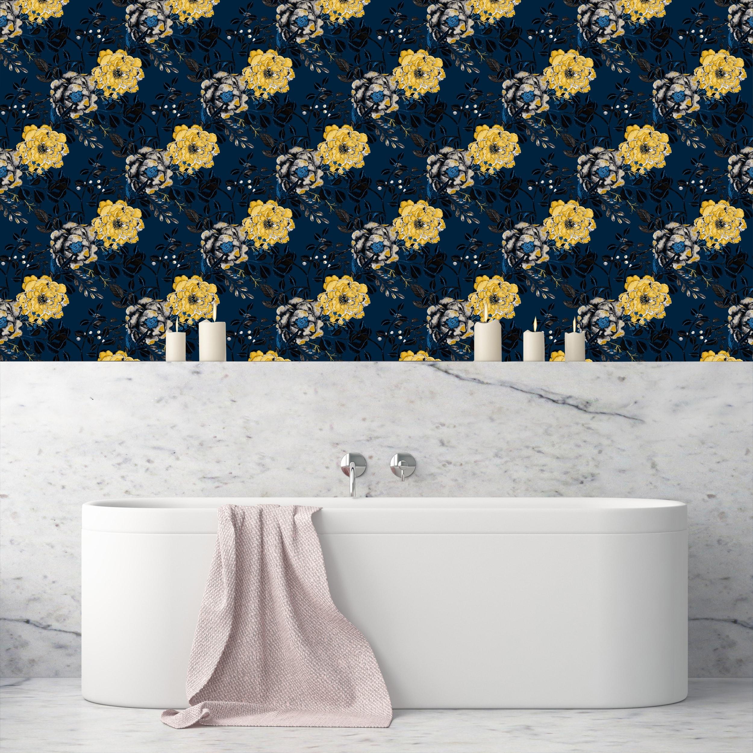 Shop Vintage Navy Blue Botanical Floral Removable Wallpaper 24 Inch X 10 Ft Overstock 31809402
