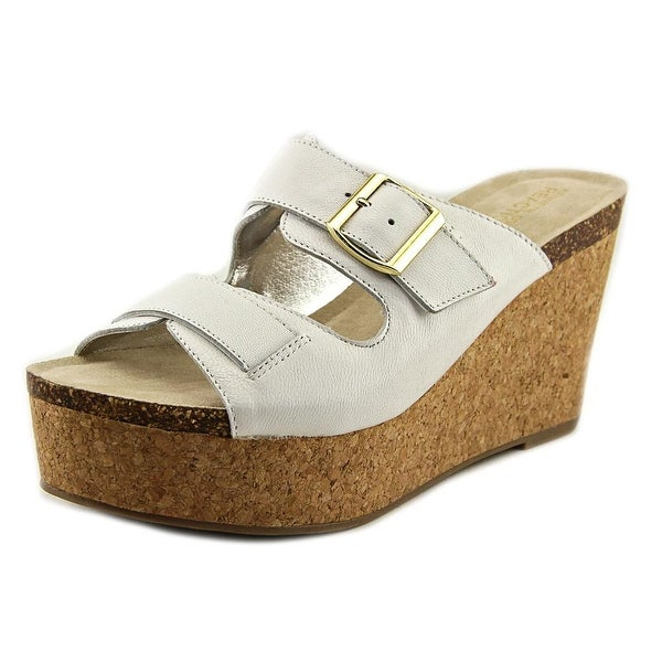 Kenneth Cole Reaction Fro Pix Women Open Toe Leather White Platform Sandal