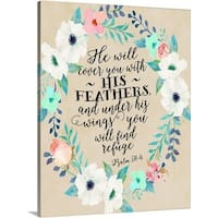 Tara Moss Premium Thick-Wrap Canvas entitled Psalm 91:4 Wreath Teal And Pink W- Beige Background