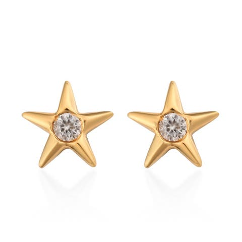 Vermeil Yellow Gold Over 925 Sterling Silver Zircon Stud Earrings