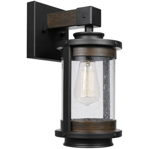 Vintage wood wall sconce with dark bronze finish